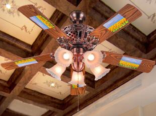 波西米亚灯具欧式吊扇灯地中海客厅餐厅吸顶带风扇的吊灯饰039,灯具,
