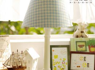 【柏汀堡】韩国复古田园地中海格子卧室床头台灯蓝绿红粉紫咖啡色,灯具,