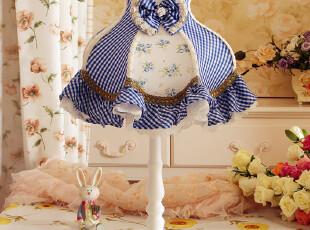 台灯床头灯卧室灯田园布艺可爱蓝色方格子台灯罩欧式地中海儿童灯,灯具,