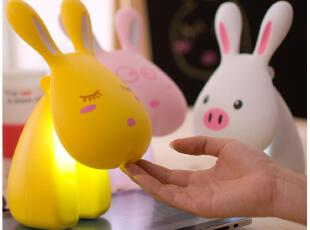 默默爱♥可爱兔子台灯创意LED充电学习工作小台灯 卧室床头护眼灯,灯具,
