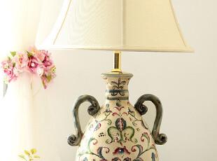 欧式乡村美式田园 外贸复古陶瓷双耳手绘床头大台灯客厅书房台灯,灯具,