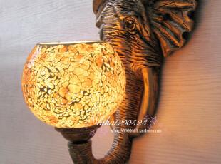 炫彩欧式复古西餐咖啡厅门厅过道中式马赛克灯创意吉祥物大象壁灯,灯具,