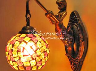 欧式复古过道壁灯卧室床头镜前墙灯马赛克玻璃美人鱼乱片壁灯,灯具,