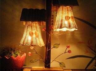 包邮创意双瓦房台灯情人节结婚床头卧室时尚田园床头灯家居复古,灯具,