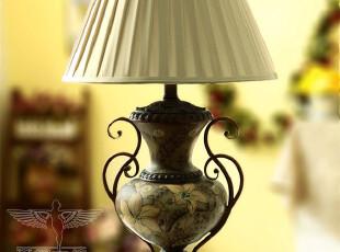 9折 欧美乡村风格 外贸复古客厅卧室书房手绘大台灯,灯具,