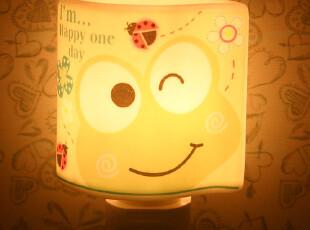 卡通陶瓷小夜灯 香薰灯 插电灯床头小台灯节能创意壁灯可爱卧室灯,灯具,