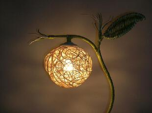 田园藤艺台灯 卧室台灯 藤艺灯 全手工编织台灯 床头灯 创意台灯,灯具,