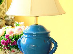 欧式乡村 地中海田园复古床头陶瓷大台灯 客厅台灯,灯具,