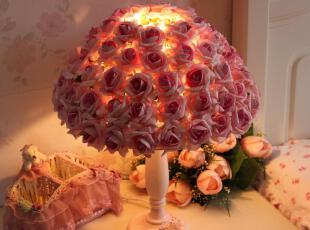 限时包邮!仿玫瑰花 蕾丝台灯 浪漫 床头灯 房间灯 送节能灯泡,灯具,