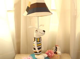 简约田园卡通儿童创意台灯卧室床头灯饰布艺灯具新婚礼物台灯创意,灯具,