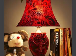 欧式台灯布艺台灯纺皮台灯古典台灯书房客厅卧室台灯具灯饰礼品,灯具,