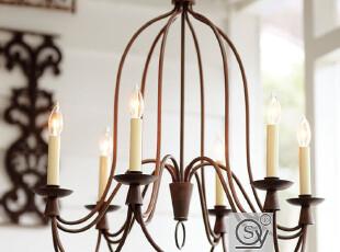 北欧美式吊灯简约现代复古客厅卧室餐厅员灯铁艺吊灯6头吊灯,灯具,