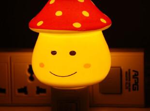 趣味时尚创意可爱儿童卧室床头家居装饰小蘑菇陶瓷七彩小夜灯,灯具,
