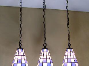 【灯饰 灯具】蒂凡尼吊灯  蓝色格子  欧式餐吊灯  适用地中海,灯具,