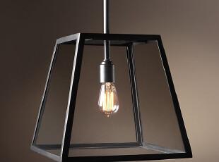 北欧 美式乡村铁艺玻璃吊灯 简约书房 老家具古典餐厅吧台吊灯,灯具,