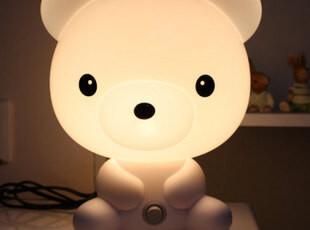 可爱闹钟卡通创意触摸语音报时台灯床头灯小夜灯儿童房台灯钟表灯,灯具,