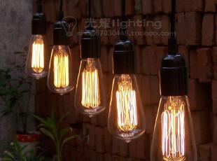 复古爱迪生蚕丝烟火灯泡吊灯 高档餐厅酒吧 创意客厅灯具餐厅灯饰,灯具,