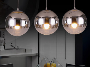 东联现代简约水晶吊灯餐厅灯酒吧吊灯饰玻璃圆球创意吊灯D8,灯具,