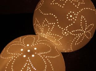 哑光磨砂陶瓷台灯 球形卧室床头灯 现代简欧创意 镭射 镂空花对灯,灯具,