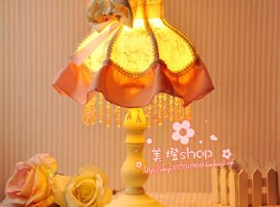 台灯 欧式 田园台灯 布艺 卧室台灯 公主 蕾丝床头灯 结婚礼物,灯具,