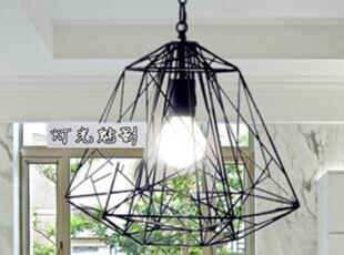 新款现代简洁美式乡村北欧宜家/餐厅/卧室/书房/钻石铁艺铁笼吊灯,灯具,