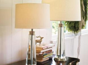 【纽约下城公园】  斑卡佛圆柱形水晶台灯(含灯罩,两种尺寸),灯具,