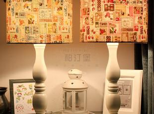 北欧简约宜家欧式法式田园布艺卧室床头台灯E3006 北美卡通邮票,灯具,