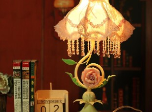 【批发】902/7欧式田园 陶瓷玫瑰花灯 蕾丝台灯/3色 铁艺床头灯,灯具,
