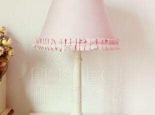 韩式田园布艺实木柱卧室床头台灯6002粉色/米白 伊莎贝拉公主,灯具,