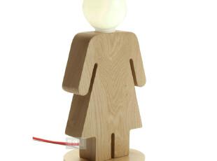 韩国光之鸟照明正品 木质儿童台灯 宜家小男孩小女孩原木床头台灯,灯具,