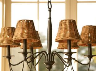 佰房灯饰 田园乡村美式仿古宜家现代风格 客厅餐厅铁艺蜡烛吊灯,灯具,