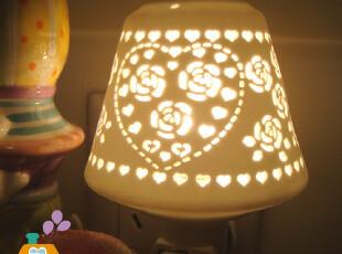 日本订单安全360°旋转灯座 手工雕刻镂空 陶瓷小夜灯/床前灯,灯具,