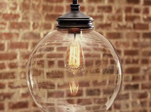 腾辉野马灯饰 北欧简约美式乡村圆球玻璃餐厅卧室阳台透明吊灯,灯具,