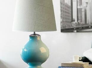 宜家台灯 美式乡村风 创意 时尚玻璃台灯床头卧室客厅灯 陶瓷台灯,灯具,