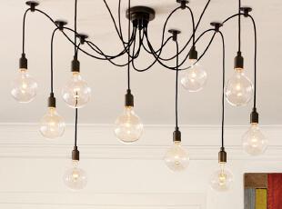 北欧美式 复古怀旧铁艺吊灯 爱迪生吊灯 客厅灯 餐厅灯,灯具,