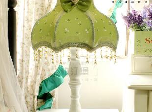 【柏汀堡】欧式乡村田园清新绿色碎花蕾丝布艺12寸床头台灯A1189,灯具,
