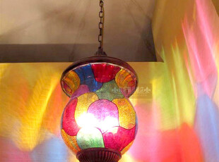 灯具波西米亚艺术吊灯东南亚风七彩玻璃门厅过道灯单吊灯吧台灯!,灯具,
