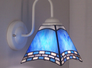 淘热销灯饰彩色玻璃灯具 简欧海蓝地中海铁艺四方白色壁灯 镜前灯,灯具,