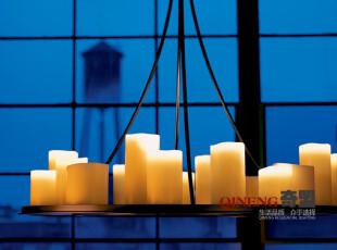 复式楼客厅大吊灯 北欧宜家吊灯 个性创意吊灯 简约 仿真蜡烛吊灯,灯具,