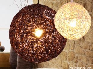 东联田园客厅吊灯创意餐吊灯卧室书房餐厅吊灯具天然藤艺灯饰圆球,灯具,