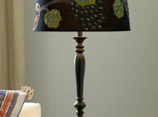 【纽约下城公园】孔雀传说 丝线刺绣深色灯罩台灯,灯具,