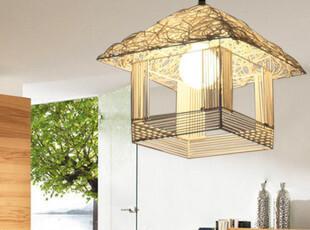 创意北欧田园风格温馨藤艺小屋子吊灯小房子吊灯餐厅装饰灯餐吊灯,灯具,