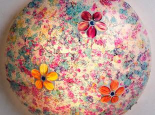 全国包邮 紫色樱花玻璃吸顶灯 地中海灯具 卧室 玄关 阳台 浴室,灯具,