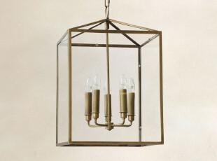 北欧表情/大牌同步/美克美家美式乡村/洛芬奇全铜方形蜡烛吊灯,灯具,