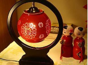 中式陶瓷台灯 中式灯具 景德镇陶瓷灯具 高档雕刻木艺台灯,灯具,