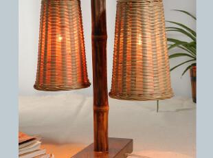 【平田】纯手制灯具 原创设计台灯 硬木座 竹编灯 床头灯,灯具,