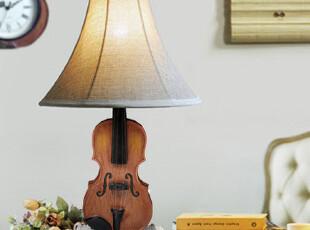 淘金币 怀旧复古创意欧式客厅卧室书房台灯桌灯仿真 小提琴台灯,灯具,