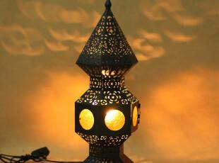 孔雀开屏摩洛哥风格铁艺电灯 家居软装摆设 铁艺台灯 乔迁礼品,灯具,