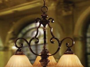 【卡特莱特】欧式简约铁艺餐吊灯 美式乡村客厅书房卧室吊灯,灯具,