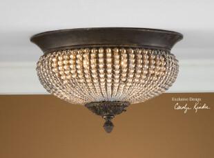 【纽约下城公园】里斯本系列 复古水晶珠子吸顶灯,灯具,